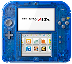 the Crystal Blue Nintendo 2DS video game system