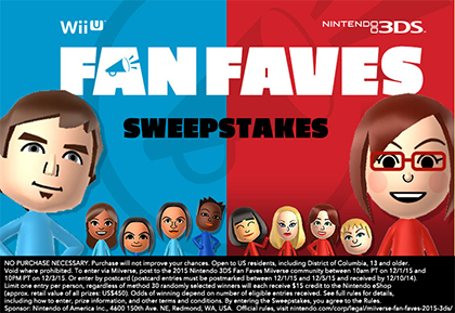 Miiverse Fan Faves Sweepstakes