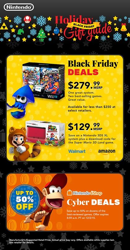 Nintendo Hardware Bundles and Game Deals for Black Friday 2015