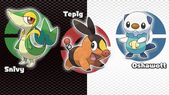 starters for pokemon black and white. Three starter Pokémon for
