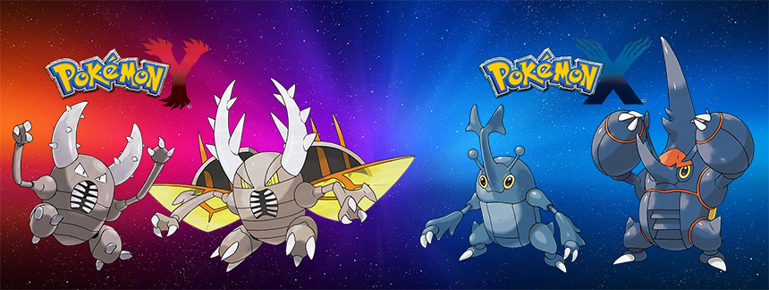 Bug-type Pokémon Pinsir and Fighting-type Pokémon Heracross get mega-evolution in Pokémon X and Pokémon Y